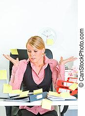 tâches, affaires femme, couvert, choqué, moderne, séance, collant, ensemble, lieu travail, notes