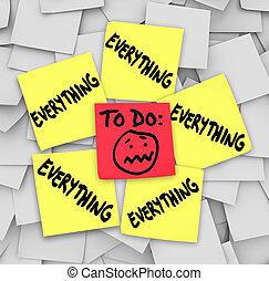 tâches, notes, liste, collant, tout, accabler