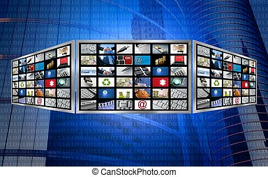 tã©lã©viseur, concept, écran, multimédia, global, technologie, 3d