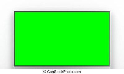 télé vivre, écran, vert, salle