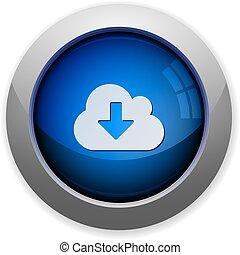 téléchargement, bouton, nuage