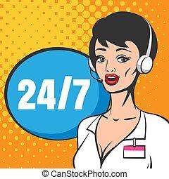 téléopérateur, comique, service, client, style., technique, illustration, livre, soutien, ou