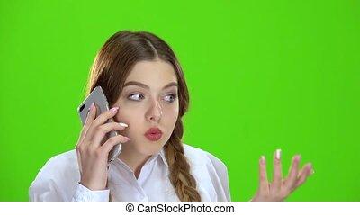 téléphone, écran, vert, girl, conversation