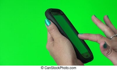 téléphone, écran, vert, intelligent, utilisation