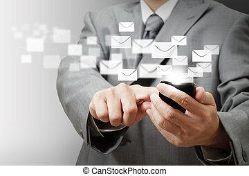 téléphone affaires, mobile, écran, main, boutons, e-mail, toucher, prise, homme