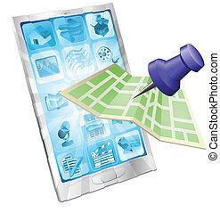 téléphone, app, concept, carte