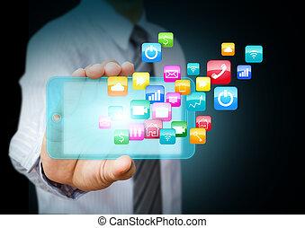 téléphone, application, intelligent, icônes