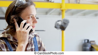 téléphone, atelier, mobile, conversation, charpentier, 4k