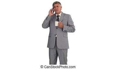 téléphone, avoir, quoique, avoirs entourent, homme affaires, isolé, appeler, whitebackground, il, thé