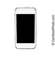 téléphone, blanc, intelligent, isolé, fond