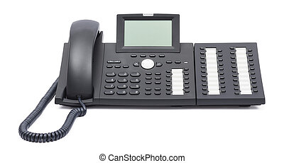téléphone, blanc, voip, isolé, fond
