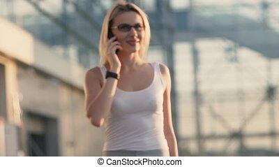 téléphone, blond, femme parler