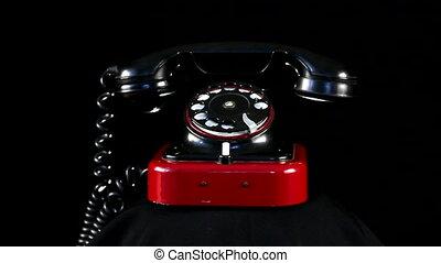 téléphone, boucle, retro