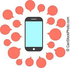 téléphone, bulles, ensemble, parole, intelligent