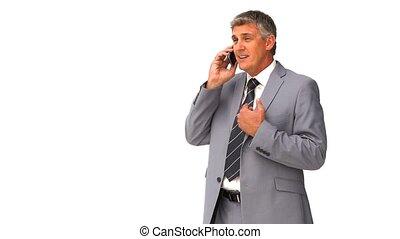 téléphone, businnessman, age moyen, parler