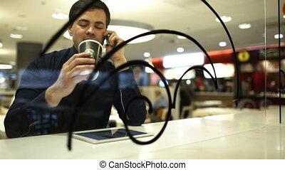téléphone, café, homme affaires, tampon, conversation