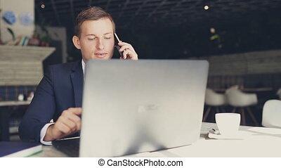 téléphone, café, parler homme