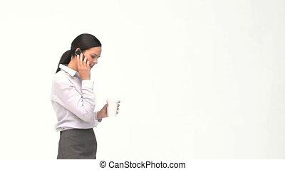 téléphone, café, pendant, conversation, coupure, femme affaires