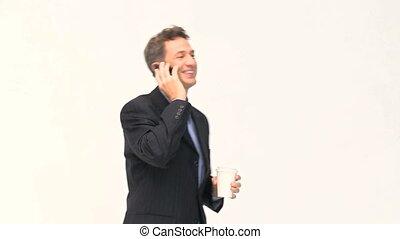 téléphone, café, pendant, conversation, coupure, homme affaires