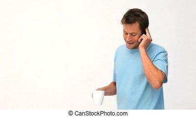 téléphone, café, pendant, conversation, coupure, homme