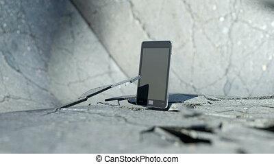 téléphone, casser, intelligent, plancher