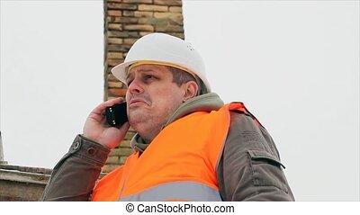 téléphone, cellule, conversation, ingénieur