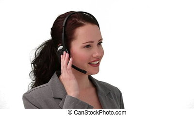 téléphone, centre, conversation, appeler, brunette, femme