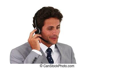téléphone, centre, conversation, appeler, homme, foncé-d'une chevelure