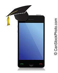 téléphone, chapeau, remise de diplomes