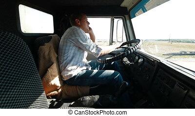 téléphone, chauffeur, camion