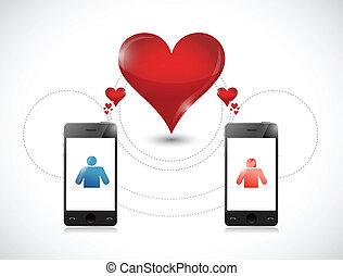 téléphone, concept., graphique, dater, ligne
