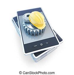 téléphone, construction, engrenage, casque