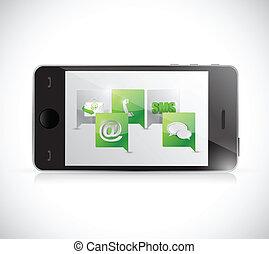 téléphone, contact, communication., nous, illustration