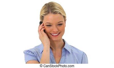 téléphone, conversation, femme souriante, blond