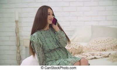 téléphone, conversation, girl
