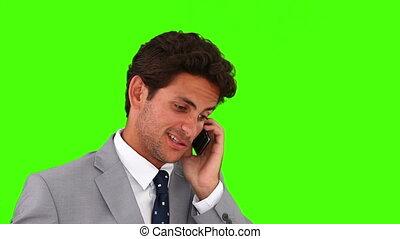 téléphone, conversation, jeune, homme affaires