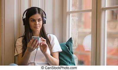 téléphone, décontracté, musique, girl, écoute