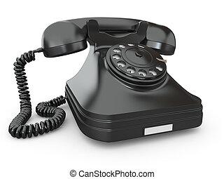 téléphone, démodé, blanc, isolé, fond