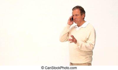 téléphone, désinvolte, homme, personnes agées, parler