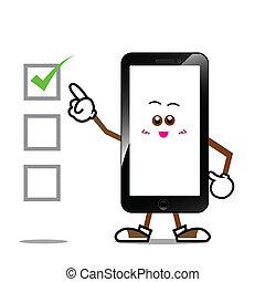 téléphone, dessin animé, intelligent, 002