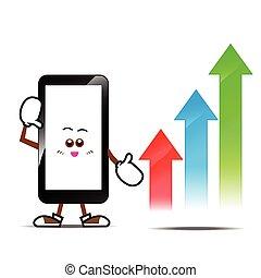 téléphone, dessin animé, intelligent, 015