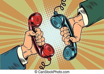 téléphone, dialogue, combinés, deux, retro