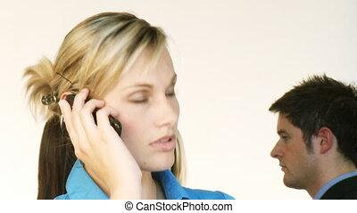téléphone, elle, équipe, fond, femme affaires