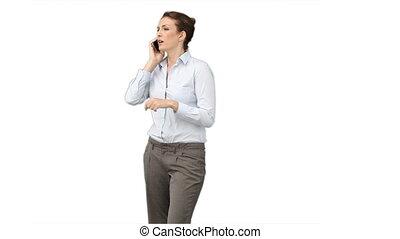 téléphone, elle, affaires mobiles, bavarder, femme