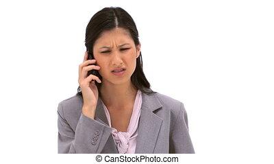 téléphone, elle, mobile, conversation, brunette, femme