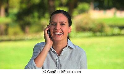téléphone, elle, mobile, mignon, femme
