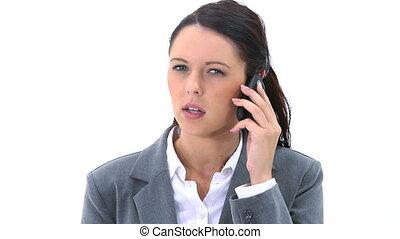 téléphone, elle, mobile, parler, femme, sérieux