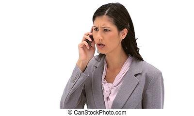 téléphone, elle, mobile, utilisation, femme, sérieux