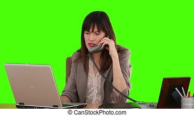 téléphone, elle, ordinateur portable, bureau, fonctionnement, femme affaires