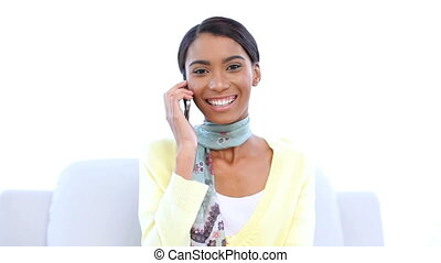 téléphone, elle, quoique, rire, femme